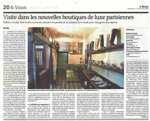 Article dans Le Monde 15 mars 2009